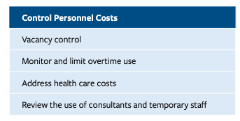 This infographic shows a text box listing four ways to control personnel costs. 1. Vacancy control, 2. Monitor and limit overtime use, 3. Address health care costs, and 4. Review the use of consultants and temporary staff.