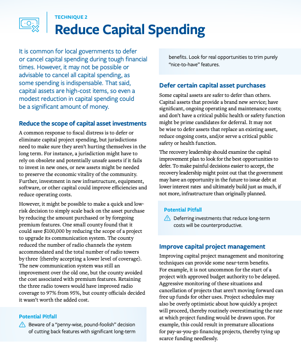 This infographic shows page eight from the resource in the link. The page contains a summary of various techniques to manage capital spending and their potential pitfalls.