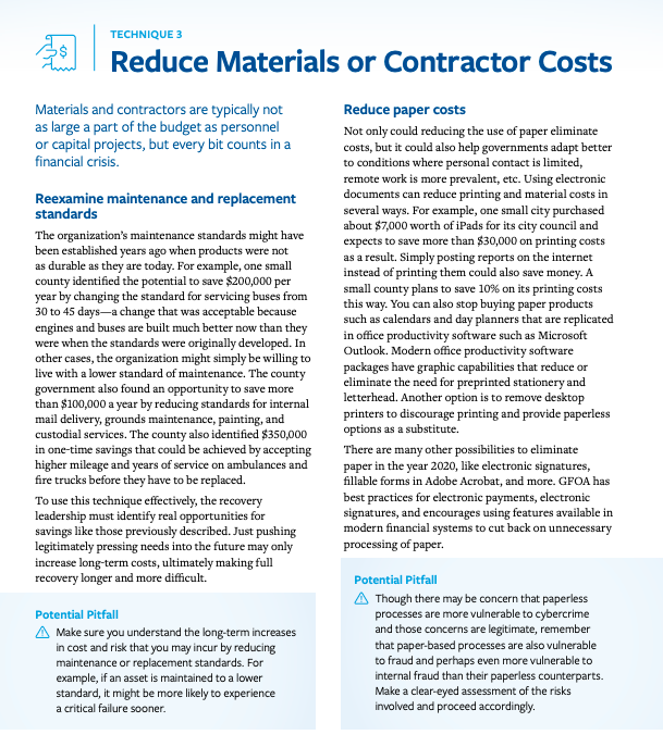 This infographic shows page nine from the resource in the link. The page contains information about two of the techniques to manage material costs and their potential pitfalls: 1. Reexamine maintenance and replacement standards, and 2. Reduce paper costs.