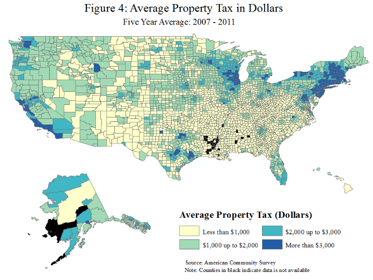 This infographic shows a geographic chart of US counties by the average amount of property taxes from 2007 to 2011. The tax amounts are broken up into 4 bins. 1. $0-$1,000, 2. $1,000 - $2,000, 3. $2,000 - $3,000, and 4. $3,000 or more. Coastal areas tend to pay higher amounts of property taxes than regions in the southern US.